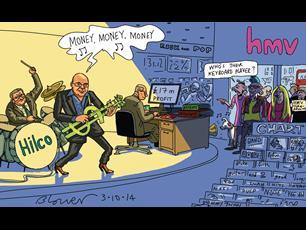 Retail Week's cartoonist Patrick Blower's take on HMV's return to profitability after falling into administration in 2013.